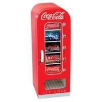 Koolatron brings together functionality and fun with the Coca Cola Vending Fridge. The vending machine keeps your beverages cold and dispenses them at the push of a button. The Coca Cola Vending Fridge can hold up to ten 12 oz. soda cans. The vending machine uses thermoelectric cooling, allowing it to operate silently. It is a must-have for collectors and those looking for a fun way to dispense drinks.