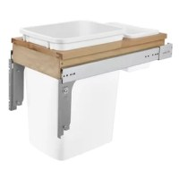 Complete the look and functionality of your kitchen with the rev-a-shelf 35-quart top mount waste container (1-0.5 inch face frame). Designed to function out of sight, this garbage can is a great place to store your waste out of sight. They're made of durable plastic material and come with high-quality slides. Along with using this can for the traditional kitchen garbage can, it can even be used for recycling if you're aiming to take a more eco-friendly approach.