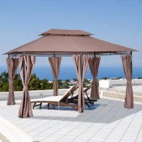 The stylish steel hardtop party gazebo tent by out sunny will turn your yard into a sophisticated and functional focal point with a stylish appearance and considerate design. The 2-tier steel vented canopy of this gazebo party tent provides superior protection against the elements. The removable zippered curtains provide versatility by allowing you to detach and remove the curtains to create an open and airy environment or secure the curtains closed to protect against pesky insects. The solid...