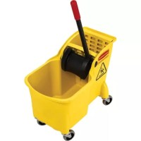 This product offers an all-in-one compact design for more effective wringing, better mop performance, and no more lost parts. Ergonomic reverse-wringing mechanism allows more comfortable use. Holes in both wringing plates force more water from mop in less time. Built-in lift handles on bottom of bucket make lifting and emptying easier. One-piece mop buck combination features an easy-to-use 33'' tall wringer handle and 3'' nonmarking casters. Wringer portion accepts up to 24 oz. mops.