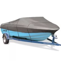 The Pyle Armor Shield Trailer Master Boat Cover 16'-18.5'L Beam Width to 98 inch Fish, Ski Boats, & Pro Style Bass Boats - High strength polyester fabric designed for extra durability and all-weather protection - Fabric coating technology and heavy-duty fabric for maximum water-resistance and repellency - Resistant to mildew and UV damage - Storage bag and trailering straps included - Integrated buckle and strap system for easy fitting and trailering, adjustable straps snap into quick-release...