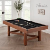 The airline plays modern farmhouse 88' pool table delivers smart style, great looks, and excellent gameplay all in one package! This 7.5' billiard table comes with a full set of billiard balls, two billiard cues, a pair of cue chalks, a racking triangle, and a brush to keep the jet felt clean during play. The sturdy base ensures a level and steady surface to perfect your billiard shots.
