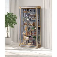 This charming Reflection Lighted Curio Cabinet has tons of character. Beaming with handcrafted pride, this Reflection Lighted curio cabinet features eight glass shelves, a mirrored background, and a two-way sliding glass door to proudly display and protects your most prized items. With solid wood construction and a distressed hand-painted finish, this curio cabinet is perfect for your home.