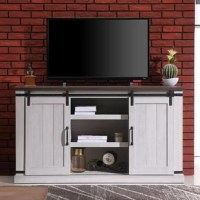 Suited for the modern farmhouse and industrial spaces alike, this TV stand is a versatile pick for the living room. Crafted from manufactured wood, two interior shelves are included, perfect for holding your DVDs and gaming consoles, while six adjustable shelves give you room for books and decorative items. it features a pair of barn-style doors that slide shut for added appeal, while metal hardware completes the aesthetic. And if you're wondering about cable management for all those wires...