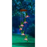 Welcome guests to your patio or three-season porch with this playful mobile, featuring solar-powered hummingbirds to brighten up the night.