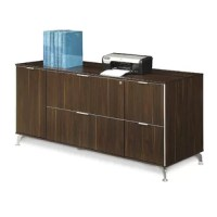 Part of the complete Astoria line, it has multiple file and supply storage to keep any office or workplace running smoothly. Pair it with an executive desk, or use it in a conference room or administrative room to easily keep materials on hand. The Astoria filing credenza is constructed with laminate surfaces and has silver aluminum accents and drawer pulls. In the center, two locking lateral file drawers provide ample space for letter or legal files, and on the right side facing a utility...