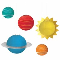 You'll be aiming for the stars when you decorate your next party with the blast off birthday paper lanterns. Each pack comes with five lanterns in different sizes and colors that look just like the planets in the solar system. Use the included string to create your own little planetarium.
