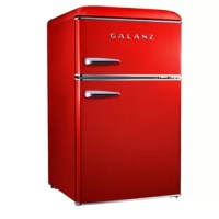 The Galanz Retro refrigerator can store and keep cool snacks, beverages and more. Best of all, it has 2 separate compartments; refrigerator and freezer. The design has true-rounded corners just like the look and feel of the fabulous old days, but has the appeal of a modern appliance. Featuring an adjustable thermostat, separate freezer compartment, bright interior lighting and spacious, clear fruit and vegetable crisper, the unit also has a removable shelf and door shelves. It is a fun and...