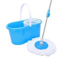 Clean the floor in a quick and easy way with this 360° spin mop with a bucket and dual mop heads! The mop heads are made of deep-cleaning microfiber that absorbs water and cleans up dust and dirt. Soft fiber won't scratch the floor so you can rest assured to rely on it. Moreover, the mop heads can rotate 360 degrees, allowing you to easily get into those hard-to-reach places. And it comes with a tough bucket that has a built-in wringer for a hands-free spin dry. Need I say more? Don't hesitate...