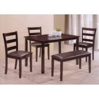 Charming dining set with bench adds an interesting design element to any kitchen or dining space.