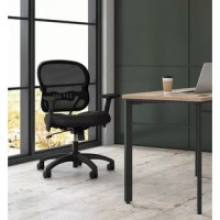 The Hon Wave Mesh Mid-Back Chair, with Height-Adjustable Arms, in Black, provides ergonomic adjustments and a clean visual design that make this chair a great investment. The task chair features a breathable two-layer woven mesh back that conforms to the upper body and a sandwich mesh seat, both provide additional support and exceptional comfort. Adjustable-height arms move up and down for shoulder and upper body support. The desk chair has a synchro-tilt mechanism that reclines the back at a...