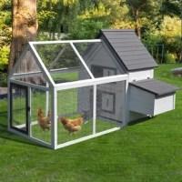 This Wood Chicken Coop/House with Nesting Box, Ramp, Run, and Ladder makes it possible for your poultry pets to move seamlessly from a cozy enclosure to the outdoor protected backyard. Built with weather-resistant fir wood and metal wire fencing for sufficient ventilation and protection from outside predators. Designed for easy maintenance, it contains a removable tray for easy access to droppings. With these deluxe chicken coops, you can give your animals a home of their own that is stylish...