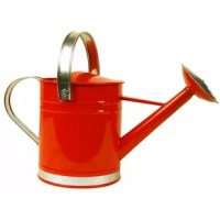 Bring a pop of color to your garden or greenhouse with this charming metal watering can, showcasing a classic silhouette and red hue.