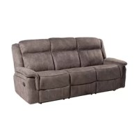 Casual and comfortable, this reclining sofa is the perfect choice to update your living space or home theater. These three over three design features tall, tight backs with defined headrests that cradle you in comfort. Tight seat cushions are an ideal place to rest and will retain their shape over time. Lofty pad arms frame the piece and add even more comfort to this already plush frame. Vertical seaming on the seatbacks and front rails lends a subtly tailored appearance, and the piece fully...