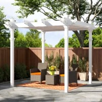 The perfect basis of any outdoor room, the Avalon 10 Ft. W x 10 Ft. D Vinyl Pergola is a stunning addition to any yard patio or deck. Providing privacy, the ingeniously designed Avalon Pergola also adds the perfect amount of shade wherever you need it. A simple, three-panel louver system allows for completely customizable shade in any direction. The Avalon pergola is created from premium vinyl and is maintenance free. New England Arbors manufacture all of New England Arbors products by molding...