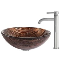 The Kraus Nature Series™ reflects a move toward designs influenced by Earth's elemental beauty. Handcrafted from tempered glass by skilled artisans, each of the vessel sinks is a functional work of art that complements the transitional and modern bathroom alike. A freestanding basin design creates a dramatic look with contemporary appeal. The copper-brown hue of the Gaia™ bathroom sink gives it an earthy appeal, while the layered texture highlights the handcrafted artistry of the glass....