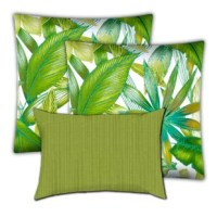 Transform your outdoor living space into a tropical retreat! Sun-kissed palm leaves of turquoise, lime, kiwi, and emerald grace our jumbo outdoor throw pillows, while a lime green and crisp white striped lumbar pillow add delightful energy to renew your senses! Distinctive design, quality workmanship. UV and mildew resistant.  Zipper Covers Only. Unique designer outdoor item perfect for your poolside, lanai, patio, deck, balcony, terrace, veranda, mezzanine, porch.