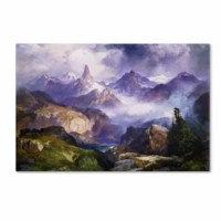 This ready to hang, gallery-wrapped art piece features rocky mountains. Thomas Moran (12 February, 1837 - 25 August, 1926) was an American painter and printmaker whose work often featured the Rocky Mountains. He, Albert Bierstadt, Thomas Hill, and William Keith are sometimes referred to as belonging to the Rocky Mountain School of landscape painters because of all of the Western landscapes made by this group. Giclee (jee-clay) is an advanced printmaking process for creating high quality fine...