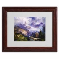This ready to hang, matted framed art piece features rocky mountains. Thomas Moran (12 February, 1837 - 25 August, 1926) was an American painter and printmaker whose work often featured the Rocky Mountains. He, Albert Bierstadt, Thomas Hill, and William Keith are sometimes referred to as belonging to the Rocky Mountain School of landscape painters because of all of the Western landscapes made by this group.