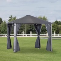 Introduce the glamour and comfort of a truly resort experience in your everyday life with this canopy gazebo from Outsunny. This sturdy gazebo tent elevates your backyard, patio area, or other outdoor space, adding an element of comfort and elegance that is sure to impress your guests. Metal frame treated with wood grain pattern for added beauty and stability, this fabric pergola is built for long-lasting use. It includes one set of mesh netting and curtains to reduce wind and sun exposure...