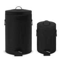 A novelty, round shape old time New York style trash can combo with hands free operation and quiet slow close lids. The strong foot pedal structure will provide many years of trouble free use. Removable inner plastic buckets for easy trash removal and cleaning. Handles on rear and sides of trash cans for convenient moving and lifting and the stay open lid position and non-skid base allow for easy removal of trash.