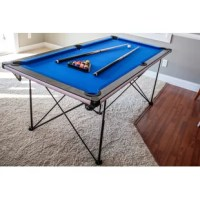 From the patio to the playroom, the billiard table provides pool anytime, anywhere. The most striking aspect of this table is its stylish blue cloth, carbon fiber finished top rails and white, beveled trim edges, adding a modern take on the classic game and ensuring it looks good with any surroundings. Start playing in minutes with their easy assembly. Simply unfold the popup frame, lay the cabinet on top and start your game. When you're ready to call it quits, the popup quickly and easily...