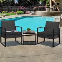 -This set includes 2 armrest chairs and 1 coffee table. All necessary hardware and instruction are included. -Outdoor Wicker Furniture Set made with high-quality PE rattan material and powder-coated steel frame, provide a stable guarantee for your use -Bistro set features an elegant glass top side table perfect for a couple of glasses of wine or the morning coffee and newspaper. -Easy to Clean: Its Weather resistance characteristic helps you make quick clean come to fruition. The removable...