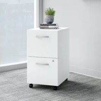 The 2 drawer mobile file cabinet presents an ideal solution for adding storage to any professional workplace. With its dual-wheeled casters and finished back, the portable file cabinet provides convenient access to legal, letter and a4-size paperwork anywhere in your office. Drawers open on smooth full-extension ball-bearing slides for an effortless reach to contents and can be locked to securely store documents with sensitive information. This locking file cabinet is tested to meet ANSI/BIFMA...