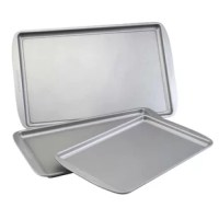Featuring three convenient cookie pan sizes, the Farberware Non stick Bakeware 3-Piece Baking Sheet Set makes it easy to bake cookies in any batch size. Farberware has provided more than a century of reliability, value, and performance to generations of home bakers, and upholds that tradition with every piece of sturdy and dependable bakeware. Use the 9-inch x 13-inch cookie pan to bake a small batch of peanut butter cookies for the kids' soccer game, or the 10-inch x 15-inch or 11-inch x...