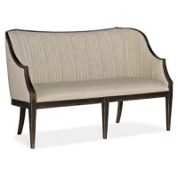 Comfort has never been so classy. From the elegantly shaped back and arms to the curved legs to the delicate wood trim finished in rich, dark Antique Varnish, the Olden Settee is the essence of gracious living. In a dimensional, two-tone look, the outside back and seat are upholstered in an oat-colored fabric, and the inside back is covered in a correlating pinstripe linen blend.