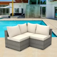 Entertain on your patio or porch with this three-piece rattan sectional seating group. Including two slipper chairs and one corner chair, each piece in this set is founded on a sturdy steel inner frame and wrapped in tightly-woven PE resin wicker in a rich brown hue. Put together, this unit strikes a streamlined L-shaped silhouette featuring a full back, clean-lined apron, and hidden feet, while water-repellent polyester-blend cushions line its seat and backrest for comfort and support.