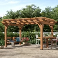 Change the ambiance, style and utility of your outdoor get-together. The contemporary designed, multilevel Oasis 14 Ft. W x 10 Ft. D Wood Pergola has enough space and features to host families and friends of all ages and sizes. The built-in bar/serving table along with a built-in bench help turn your backyard or patio into a shady plant oasis or sleek evening entertainment setting.