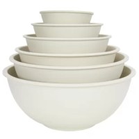 This mixing bowl set is made out of 60-70% bamboo fiber powder which is a renewable material. Bamboo grows 8 feet per day. The bowls are also mostly biodegradable to help reduce the footprinting of landfills.
