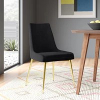 Do more than just drop unwanted mail on your dining table. Eat there – and with these chairs, you'll have a real reason to. These stylish dining chairs have a high, slightly curved solid back that wraps around a foam-filled seat cushion for a soft dining spot. The whole chair is upholstered in velvet, and the stainless steel legs create a fab accent for the design. With no arms, this chair can sit snug against your table for a buttoned-up appearance.