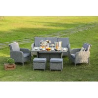 Enjoy al fresco meals on your patio or porch with this six-piece outdoor dining set! Including one sofa, two armchairs, two ottomans, and one dining table, each piece in this set is crafted from a sturdy steel inner frame and wrapped in weather-resistant gray resin wicker. The sofa and chairs each feature a full back, track arms, and four-post legs, while foam-filled blue or beige polyester-blend cushions line each seat and top each ottoman for added comfort and support. Rounding out the...