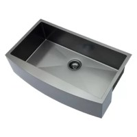 The elegant black Workstation  Apron Kitchen Sink is a bold addition to any kitchen. Deep, rectangular bowls with bottom drain grooves and a curved apron front define the Apron Kitchen Sink.Stainless steel sink has 10-inch ultra-deep bowl, R10 tight radius rounded corners,and a 95-degree straight side that can accommodate more dish stacks and the largest pots, even the roasting pan. extra-deep basin reduces splashing and hides unwashed cutlery.
