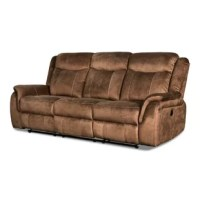 Upgrade the comfort level of your living space with the inclusion of this luxurious Sofa. Upholstered from fabric in the hue of brown, it features pillow-top flared armrests and reclining mechanism for added comfort. The USB ported at the power switch provides functionality to it.