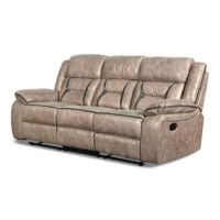 Maximize the comfort level of your living space with the inclusion of this luxurious console sofa. Upholstered from leatherette in the hue of gray, it features pillow-top flared armrests and reclining mechanism for added comfort. It showcases stylish black contrast stitched details, enhancing its style.