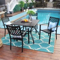 This Stinchcomb Outdoor 5 Piece Dining Set looks simple and elegant fit most living space. Classic color will never be out of date, arm design and broad back ensure comfortable use. Unique antique cast pattern design which creates a romantic European look will enhance your outdoor living space. Perfectly match with any indoor room, yard, garden or your balcony. You will enjoy better in the natural scenery with friends and family.