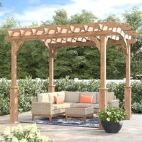 This Suncast wood pergola will transform your backyard from good to great. Constructed of natural White Cedar, this is the perfect design to compliment any backyard or garden setting. It includes column foundation brackets and all hardware needed for assembly. The pergola comes unfinished and ready to be stained. Oversized posts create a stable and weighted look. Its arched design is open, attractive, and enhances the appearance of your other outdoor decor. Enjoy outdoor get-togethers and...