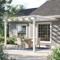 Create a charming and relaxing outdoor space with this 12' square pergola! Crafted from white, weather-resistant vinyl for a classic look that stands up to the elements, it showcases a flat latticed look up top that's perfect for holding climbing flowers and plants or giving your patio a cozy and protected look. To keep this pergola looking it's best, all you need to do is give it the occasional spritz with a hose. Additional materials are required for assembly, depending on where you want to...
