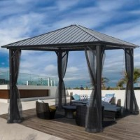 Transform your patio area into an outdoor retreat with the Harley 10 x 10 ft. Square Hardtop Gazebo with Galvanized Steel Roof and Frame. Made of 100% durable galvanized steel, this stunning addition to your backyard is built to withstand the elements for year round use. A patio set and table fits perfectly under the pitched square roof, so you can dine in style no matter the weather. The sheer mosquito netting keeps out unwanted insects while giving you a closed in, cozy feel. When dining in...
