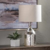 Add some glam to your home with our silver mercury glass accent table lamp.  Its shimmery glass base will fit any modern decor.  Spice up your end table, beside table, or desk!
