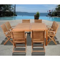 Transform your backyard into a vacation spot with the Mcphearson 9 piece teak square patio dining set! This modern dining set includes one square patio table and eight folding armchairs. Assembly is required only for the table. Comes with free feron gard wood perservative for longest strap durability. It works great against the effects of air pollution salt air, and mildew growth. For best protection, perform this maintenance every season or as often as desired.