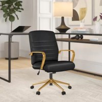 Whether you run a business from home or spend countless hours surfing the web, a chair like this is the perfect perch. Crafted from a steel frame, it features a five-star base with rolling casters for increased mobility. Plus, the gold finish on this modern piece lends a touch of glam style. A saddle seat, two armrests, and lumbar-friendly back round out the design, while foam-filled faux leather increases comfort.