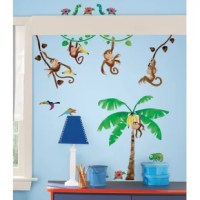 The Room Mates Monkey Business Wall Decal is a great choice for creating a playful jungle theme in any room. This wall decal features monkeys swinging from trees carrying bananas, parrots, caterpillars, chameleon, and flowers. It is ideal for adorning bedrooms, nurseries, living rooms, and bathrooms.  This jungle and safari themed wall decal is made of rich quality PVC, which makes it strong and durable. Kids adore bedrooms with jungle safari themes and such wall decals will make their rooms...