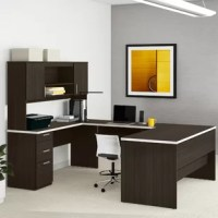 Rounding out any office space in style, this executive desk is always a smart selection. Crafted from manufactured wood with a melamine top, this piece showcases a U-shaped silhouette designed to let you spread work out with plenty of space. Two exterior shelves on the included hutch provide a place to tuck away loose odds and ends, while three drawers on ball-bearing glides offer even more storage. Plus, a neutral finish allows it to blend easily with a variety of color schemes.