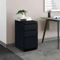 Looking to add a little organization to the office? A filing cabinet like this is a great way to slip a little organization into your team's workspace, especially thanks to its low-profile design that allows it to easily fit under desks. Crafted in North America from steel, it features a streamlined design perfect for contemporary offices. And thanks to the three locking drawers, you can tuck away notebooks, papers, and more without worrying that anyone will see them. No assembly is required...