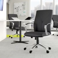 Looking to lend some additional style to your home office or workplace ensemble? Look no further – this office chair is here to help! Brimming with contemporary appeal, it showcases a polished chrome coloring on its five-star base and curved arms. It features a waterfall seat to help keep legs from cramping, and sports an ergonomic back with lumbar support to make sure your spine is happy. Plus, its base includes casters for easy transport.