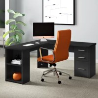 Storage space and room to spread out come together with this executive desk. Perfect for any office that needs a little extra space to stash supplies, this desk features a pedestal with three drawers (including a file drawer) and two open shelves so you can easily stow books, files, and more. It's crafted from commercial-use manufactured wood, and features a streamlined, L-shaped silhouette for a clean contemporary feel in any office.